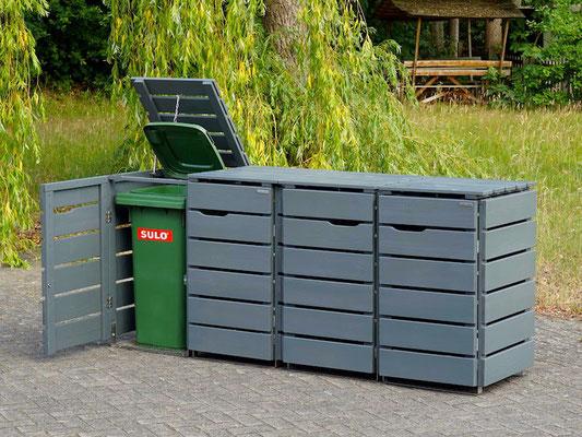 4er Mülltonnenbox / Mülltonnenverkleidung Holz für 120 L Mülltonnen, Oberfläche: Steingrau (RAL 7012)
