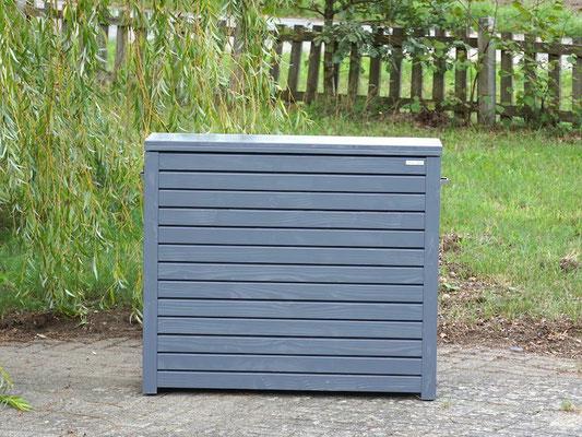 Auflagenbox / Kissenbox Holz nach Maß, Oberfläche: Schiefergrau RAL 7015, atmungsaktiv & wasserdicht