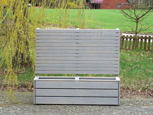 Pflanzkasten Holz Lang M mit Sichtschutz, Länge: 172 cm, Höhe: 150 cm, Oberfläche: Transparent Grau