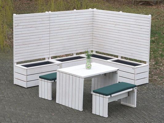 Pflanzkasten Holz Ecke mit Sichtschutz, Oberfläche: Transparent Weiß - Höhe: 180 cm