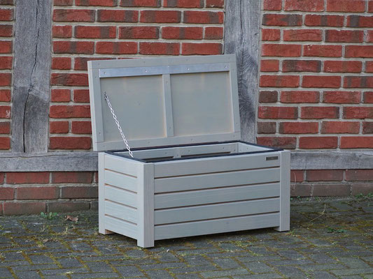 Truhenbank / Sitzbank Holz S, Oberfläche: Transparent Grau