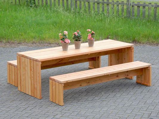 Gartenmöbel Set 1 Holz, Tischgröße: 200 x 100 cm, Oberfläche: Natur Geölt