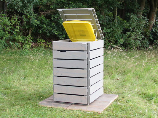 1er Mülltonnenbox aus Holz, für 120 L & 240 L Tonne, Farbe: Farbe: Transparen Geölt Grau