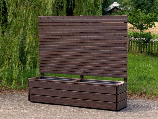Pflanzkasten Holz Lang mit Sichtschutz, Länge: 212 cm, Höhe: 180 cm, Oberfläche: Deckend Geölt Dunkelbraun