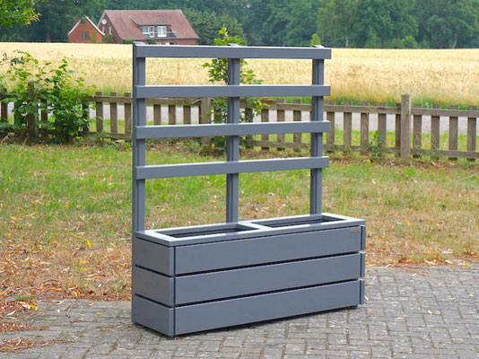 Pflanzkasten Holz Lang S mit Rankgitter / Spalier, Maße: 132 x 41 x 150 cm, Oberfläche: Steingrau / Basaltgrau RAL 7012