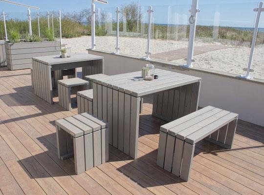 Gartenmöbel Set 1 Holz, Tischgröße: 120 x 80 cm, Oberfläche: Transparent Grau