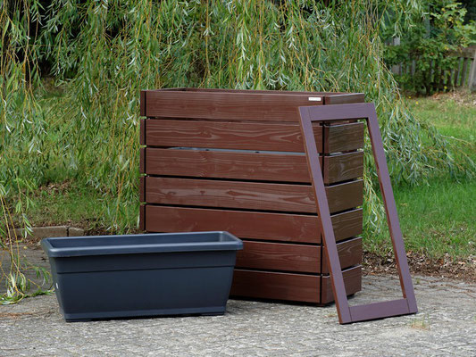 Pflanzkasten / Pflanzkübel Holz L, Oberfläche: Dunkelbraun / Schokoladenbraun RAL 8017