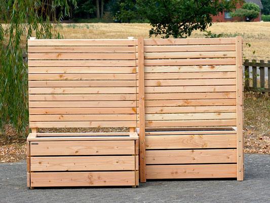 Pflanzkasten Holz mit Sichtschutz, Länge: 112 cm, Höhe: 150 cm, Oberfläche: Natur