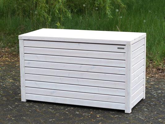 Auflagenbox / Kissenbox Holz, Oberfläche: Transparent Weiß, atmungsaktiv & wasserdicht