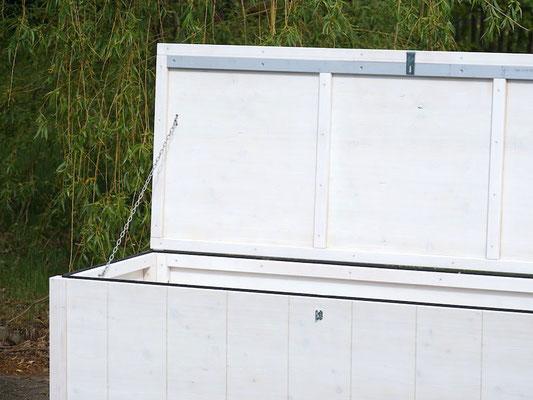 Auflagenbox / Kissenbox Holz nach Maß, Größe 185 x 70 x 78 cm, Oberfläche: Transparent Weiß