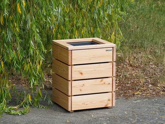 Pflanzsäule / Pflanzkübel Holz M, Oberfläche: Natur