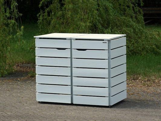 2er Mülltonnenbox / Mülltonnenverkleidung Holz 240 L, Oberfläche: Lichtgrau (RAL 7035)