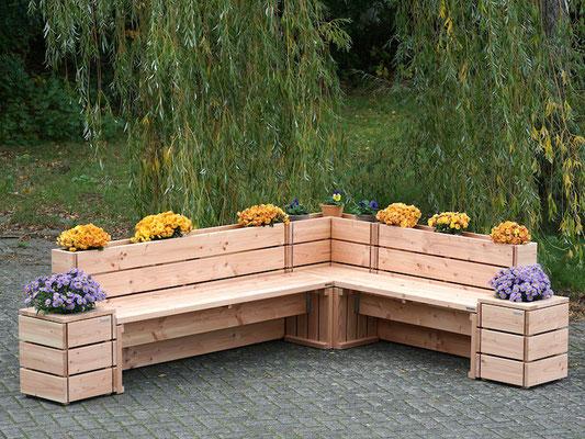 Pflanzkasten Ecke / Sitzecke nach Maß, wetterfestes Holz, Douglasie - Oberfläche: Natur