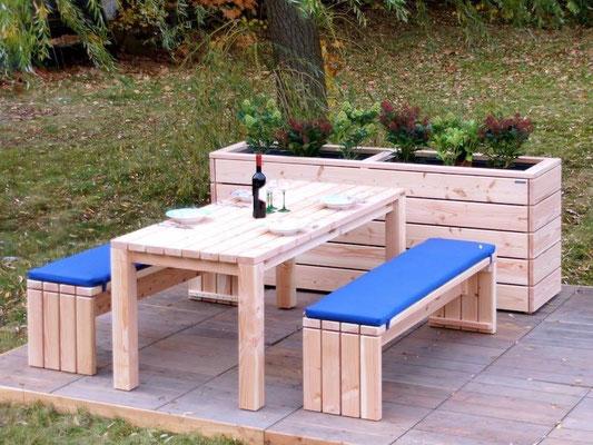 Gartenmöbel Holz Set 3, Douglasie Natur, mit Polstern