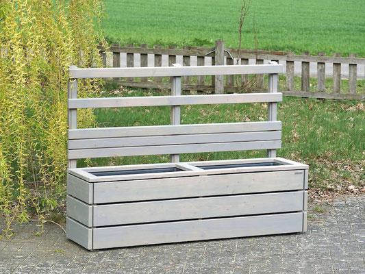 Pflanzkasten Holz Lang M mit Rankgitter / Spalier + Sichtschutz, Maße: 172 x 48 x 120 cm, Oberfläche: Transparent Grau