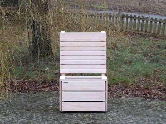 Pflanzkasten / Pflanzkübel Holz S mit Sichtschutz, Länge: 72 cm, Höhe: 120 cm, Oberfläche: Transparent Weiß