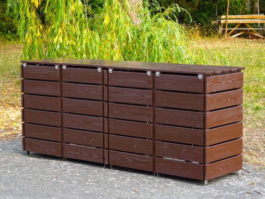 Rückseite 4er Mülltonnenbox / Mülltonnenverkleidung Holz, Oberfläche: Dunkelbraun / Braun