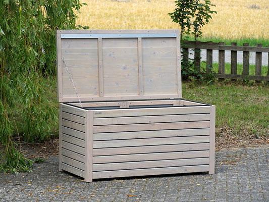 Auflagenbox / Kissenbox Holz, Oberfläche: Transparent Grau, atmungsaktiv & wasserdicht