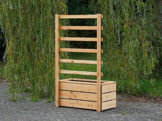 Rückseite Pflanzkasten Holz L mit Rankgitter / Spalier, Oberfläche: Natur Geölt