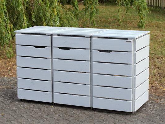 3er Mülltonnenbox / Mülltonnenverkleidung Holz, Oberfläche: Deckend Geölt Lichtgrau