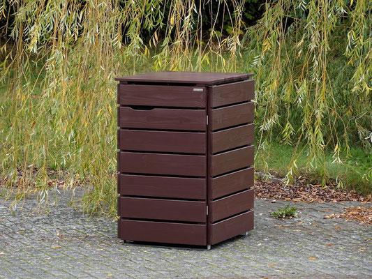 1er Mülltonnenbox Edelstahl / Holz, Oberfläche: Dunkelbraun / Schokoladenbraun (RAL 8017)