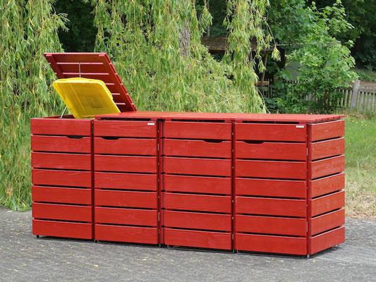 4er Mülltonnenbox / Mülltonnenverkleidung Holz, Oberfläche: Nordisch Rot (RAL 3011)