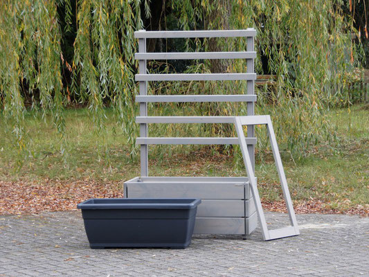 Pflanzkasten Holz L mit Rankgitter / Spalier, Maße: 112 x 55 x 180 cm, Oberfläche: Transparent Grau