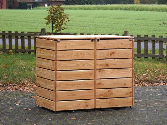 2er Mülltonnenbox / Mülltonnenverkleidung Holz 240 L, Oberfläche: Natur Geölt