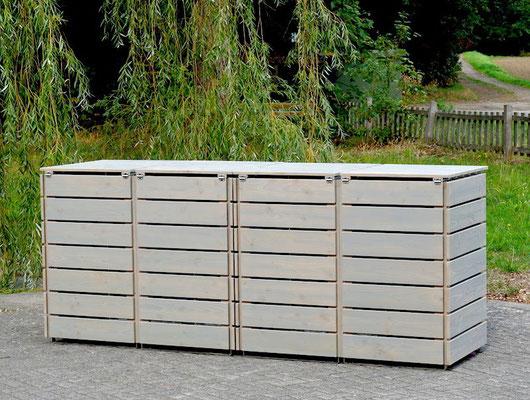 Rückseite 4er Mülltonnenbox / Mülltonnenverkleidung 240 L Holz, Oberfläche: Transparent Grau
