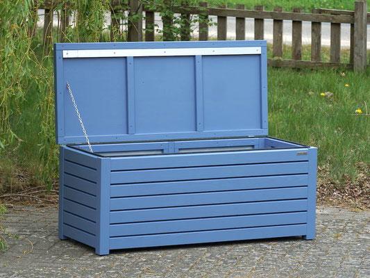 Auflagenbox / Kissenbox Holz, atmungsaktiv & wasserdicht, Oberfläche: Taubenblau RAL 5014