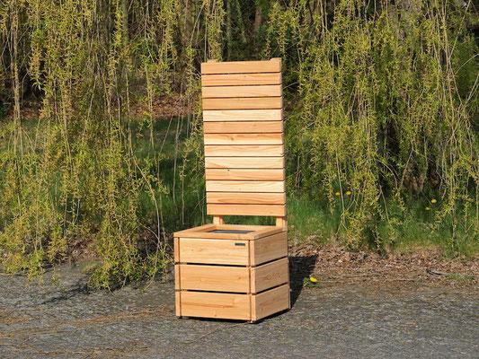 Pflanzkübel Holz M mit Sichtschutz, Länge: 52 cm, Höhe: 120 cm, Oberfläche: Natur Geölt