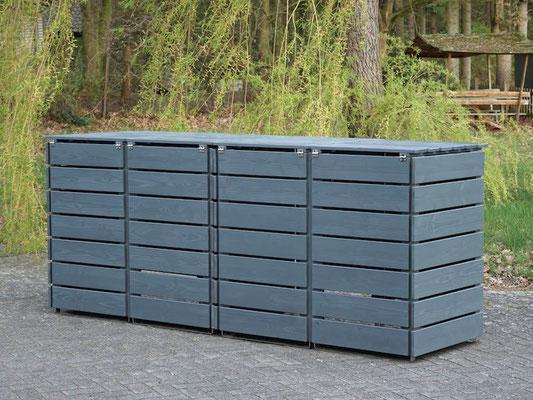 Rückseite 4er Mülltonnenbox / Mülltonnenverkleidung Holz für 240 L Mülltonnen, Oberfläche: Steingrau