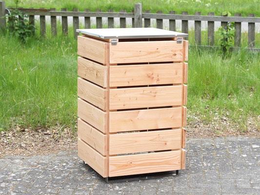 Rückseite 1er Mülltonnenbox / Mülltonnenverkleidung Holz mit Edelstahl - Deckel, Oberfläche: Natur
