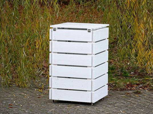 Rückseite 1er Mülltonnenbox / Mülltonnenverkleidung Holz, Oberfläche: Weiß