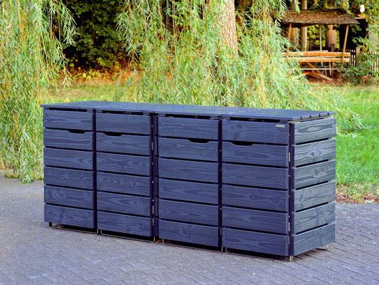 4er Mülltonnenbox / Mülltonnenverkleidung Holz 120 L, Oberfläche: Anthrazit (RAL 7016)
