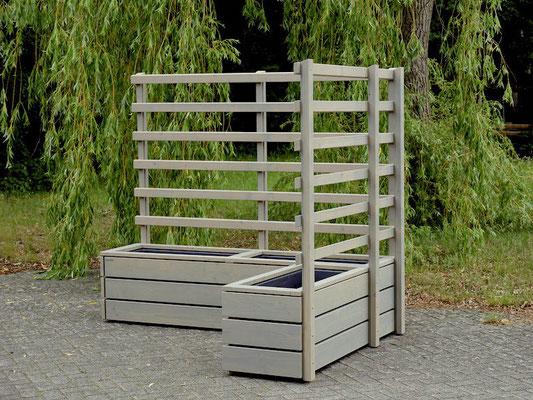 Pflanzkasten Holz Ecke mit Rankgitter / Spalier, Oberfläche: Transparent Grau