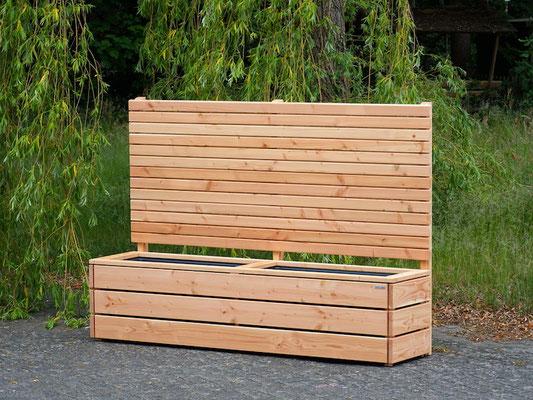 Pflanzkasten Holz Lang mit Sichtschutz, Länge: 212 cm, Höhe: 150 cm, Oberfläche: Natur Geölt