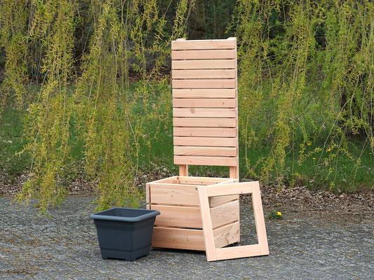 Pflanzkübel Holz M mit Sichtschutz, Länge: 52 cm, Höhe: 120 cm, Oberfläche: Natur