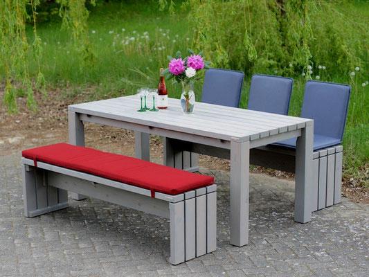 Gartenmöbel Set 3 Holz, Tischgröße: 180 x 80 cm, Oberfläche: Transparent Grau, mit Polster & Sitzschalen / Rückenlehne