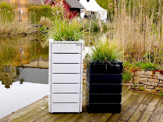 Pflanzkübel / Pflanzkasten Holz M, Oberfläche: Weiß