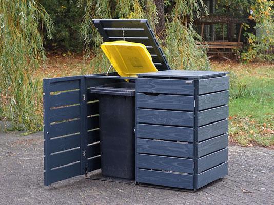 2er Mülltonnenbox / Mülltonnenverkleidung Holz 240 L, Oberfläche: Anthrazit (RAL 7016)