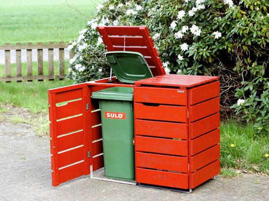 2er Mülltonnenbox / Mülltonnenverkleidung Holz für 60 L / 80 L / 120 L Mülltonnen, Oberfläche: Deckend Geölt Skandinavisch Rot