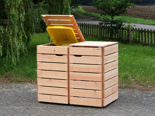 2er Mülltonnenbox / Mülltonnenverkleidung 240 L Holz, Oberfläche: Natur