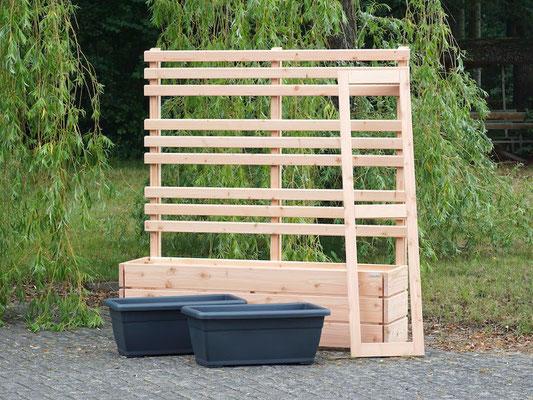 Pflanzkasten Holz Lang M mit Rankgitter / Spalier nach Maß, Oberfläche: Natur