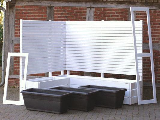 Pflanzkasten Holz Ecke mit Sichtschutz, Oberfläche: Weiß