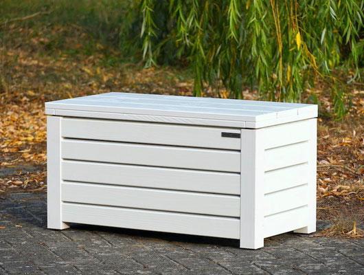 Truhenbank / Sitzbank Holz S, Oberfläche: Weiß, atmungsaktiv & wasserdicht