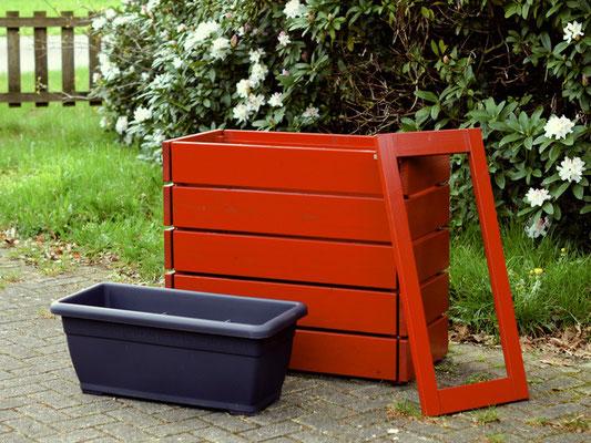 Pflanzkasten / Pflanzkübel Holz M, Oberfläche: Nordich Rot