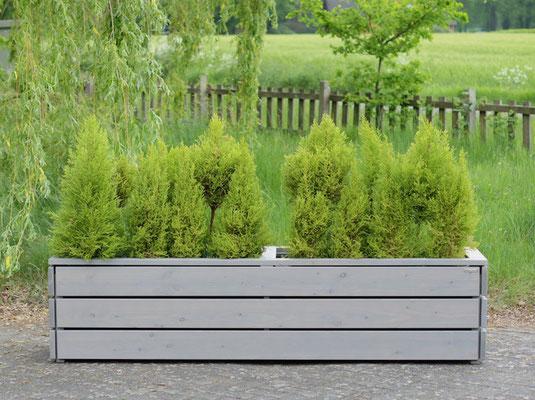 Pflanzkasten / Pflanzkübel Holz Lang L, Oberfläche: Transparent Grau