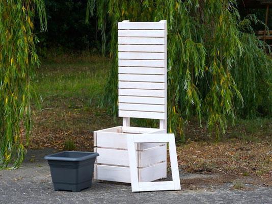 Pflanzkübel Holz M mit Sichtschutz, Länge: 52 cm, Höhe: 150 cm, Oberfläche: Transparent Weiß