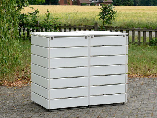 Rückseite 2er Mülltonnenbox / Mülltonnenverkleidung Holz, Oberfläche: Weiß (RAL 9016)